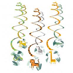 6 Espirais Decorativas Animais da Selva Get Wild Safari