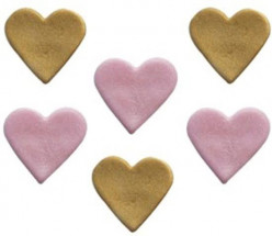 6 Mini Toppers Açúcar Corações 3cm