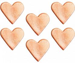 6 Mini Toppers Açúcar Corações Dourados 3cm