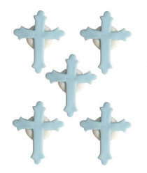 6 Mini Toppers Açúcar Crucifixos Azuis 3.5cm