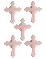 6 Mini Toppers Açúcar Crucifixos Rosa 3.5cm