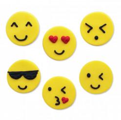 6 Mini Toppers Açúcar Emojis 2.5cm