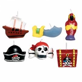 6 Mini-velas Piratas 3,2cm