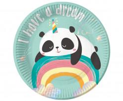 6 Pratos Festa Dreamy Panda 18cm