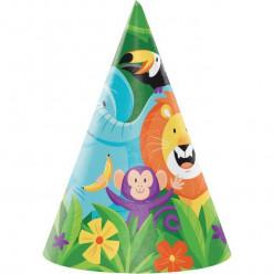 8 Chapéus de Festa Animais da Selva