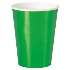 8 Copos de Papel - Verde Metalizado