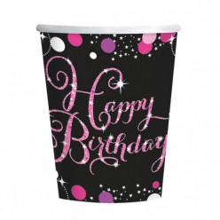 8 Copos papel 260ml  Pink Celebration