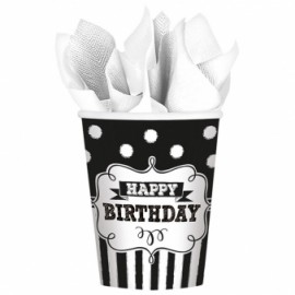 8 Copos Papel Happy Birthday -Chalkboard