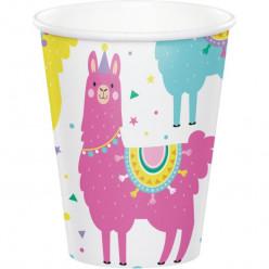 8 Copos Papel Llama Party