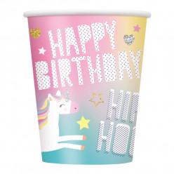 8 Copos Papel Unicórnio Happy Birthday