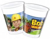 8 copos plásticos  Bob Construtor