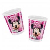 8 Copos rosa Minnie Mouse