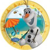 8 Pratos 20 cm festa Frozen Olaf Summer