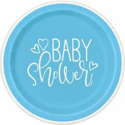 8 Pratos Baby Shower Azul 22cm