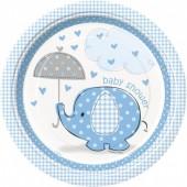 8 Pratos Baby Shower Azul redondos 22 cm