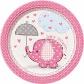 8 Pratos Baby Shower Rosa redondos 17 cm