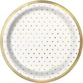 8 Pratos Brancos Bolinhas Douradas 22cm