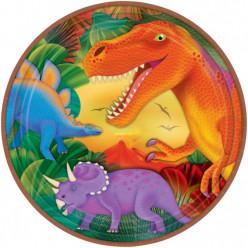 8 Pratos Dinossauros Pré Histórico 23cm