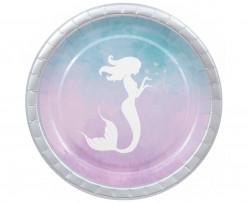 8 Pratos Elegant Sereia Mermaid 23cm