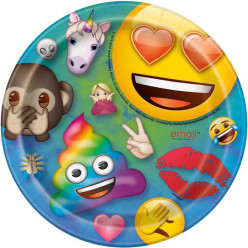 8 Pratos Emoji Rainbow Fun 17cm