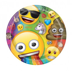 8 Pratos Emoji Rainbow Fun 22cm