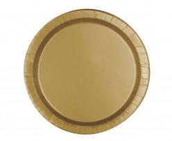 8 Pratos Festa Dourados 22cm