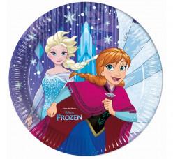 8 Pratos Festa Frozen Snowflakes 23cm