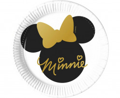8 Pratos Festa Minnie Gold 20cm