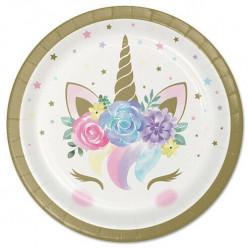 8 Pratos Festa Unicorn Baby 17cm