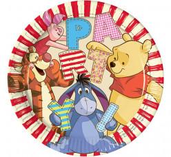 8 Pratos Festa Winnie the Pooh 23cm