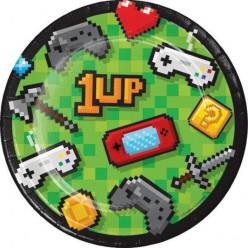 8 Pratos Gaming Party 18cm