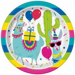 8 Pratos Lama Birthday 22cm