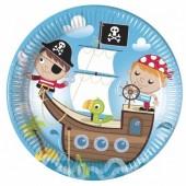 8 Pratos metalizados Festa de  23cm - Piratas Caça ao Tesouro