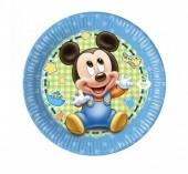 8 Pratos Mickey Bebé 20cm