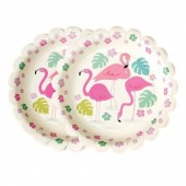 8 Pratos papel 17.5cm - Flamingo