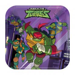 8 Pratos Quadrados Tartarugas Ninja TMNT 18cm