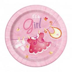 8 Pratos Redondos 23cm Pink Baby Shower