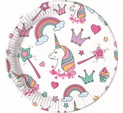 8 Pratos Unicórnio Magic Party 23cm