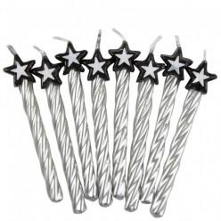 8 Velas prateadas com estrela