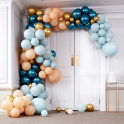Arco Balões Luxe Azul e Dourado Chrome