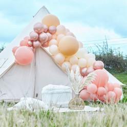 Arco Balões Luxe Pêssego, Nude e Rose Gold