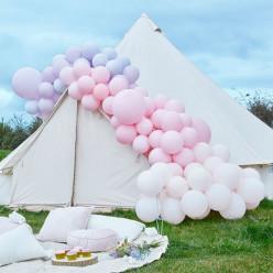 Arco Balões Luxe Rosa Pastel e Roxo