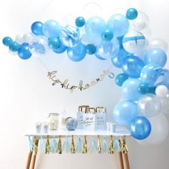 Arco com 70 Balões Azuis e Brancos 4m