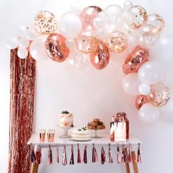 Arco com 70 Balões Rosa Dourado 4m