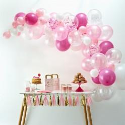 Arco com 70 Balões Rosas e Brancos 4m