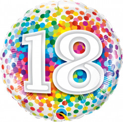 "Balão 18 Anos Rainbow Confetti 18"""