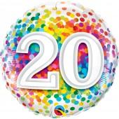 "Balão 20 Anos Rainbow Confetti 18"""