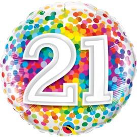 "Balão 21 Anos Rainbow Confetti 18"""