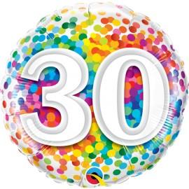 "Balão 30 Anos Rainbow Confetti 18"""