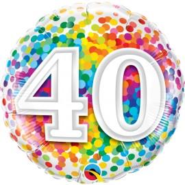 "Balão 40 Anos Rainbow Confetti 18"""